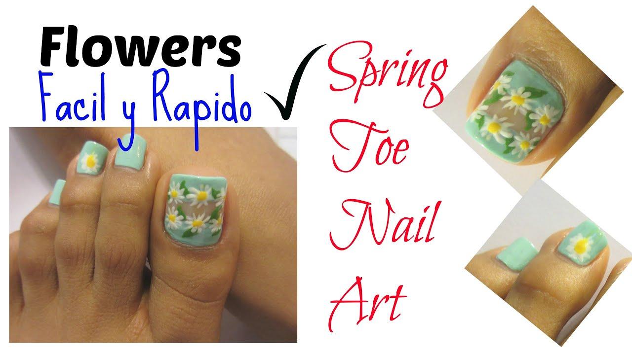 Floral decoraci n de u as de los pies facil y rapido easy toe nail art youtube - Decoracion facil de unas ...