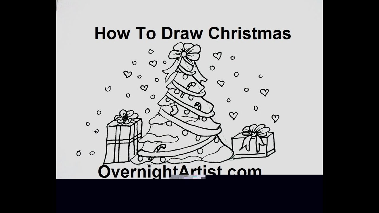 How To Draw Christmas Tree With Ornaments Easy Easy Way Youtube