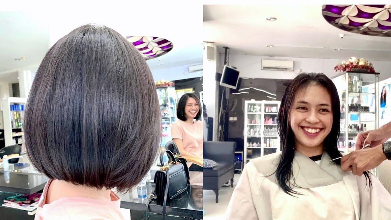 Potong Rambut Bob Long To Bob Haircut Hair Transformation Haircuts Bob Youtube