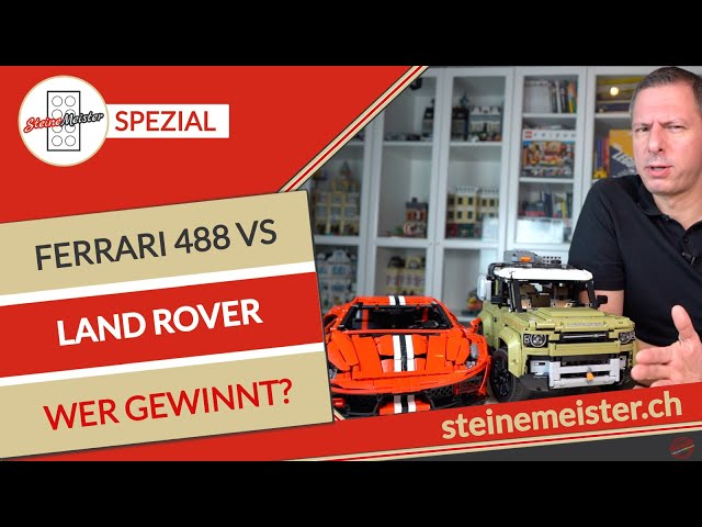 CaDa Ferrari 488  C61042W gegen LEGO® Land Rover Defender (42110). Wer gewinnt das Battle?