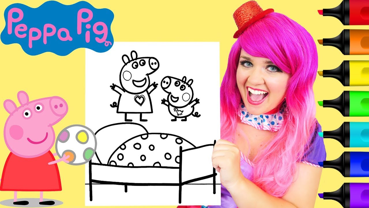 Coloring Peppa & George Pig Jumping On The Bed Coloring Page ...