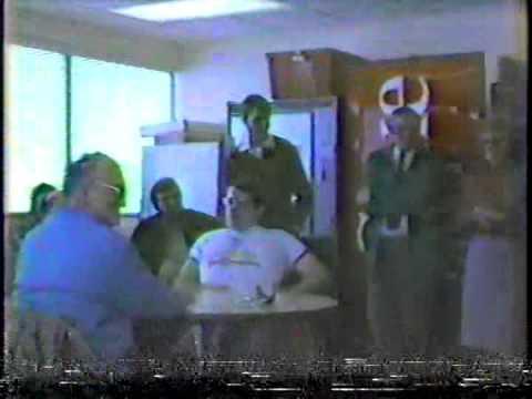 Marsh Warehouse break room around 1983, John Hughes Retirement and Bowling Team