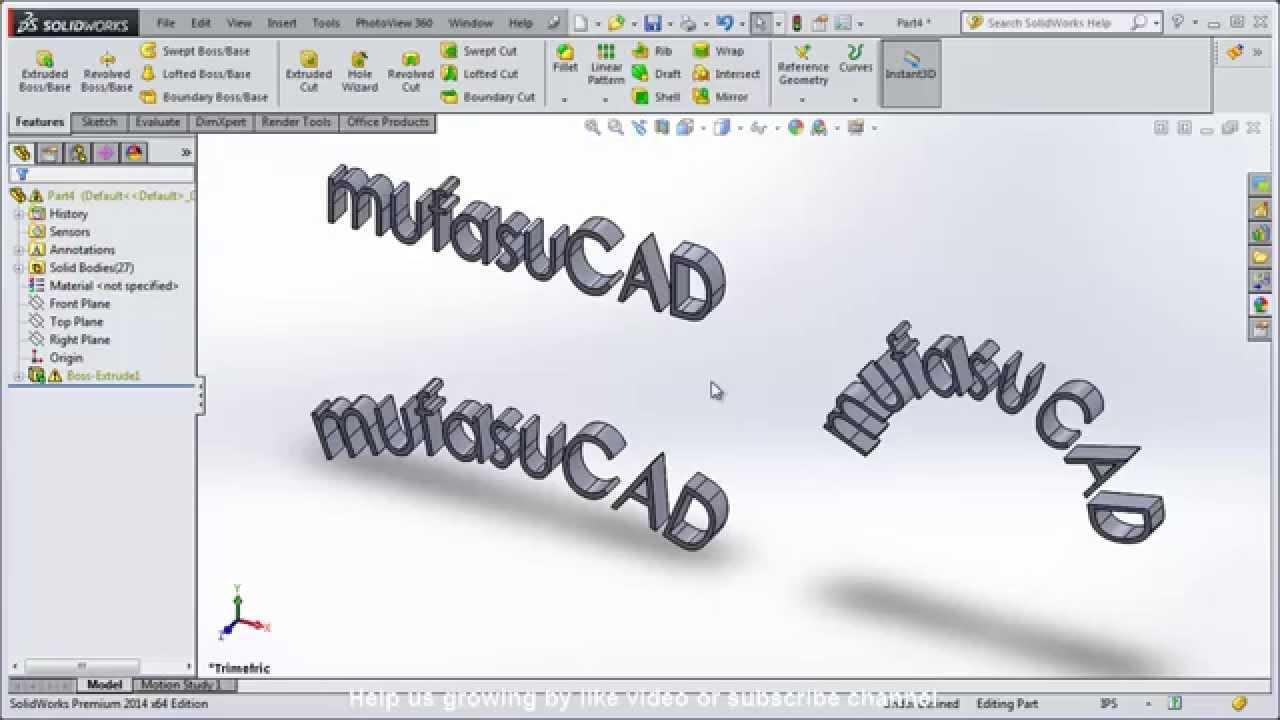 Solidworks 3D Text Path Tutorial
