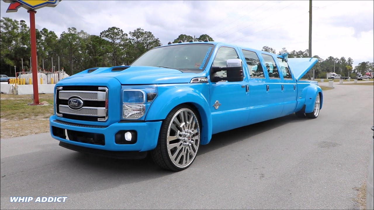 WhipAddict: Worlds First 13' Ford F450 Dually on 28s, Bagged with 8 Doors, Custom Paint - YouTube