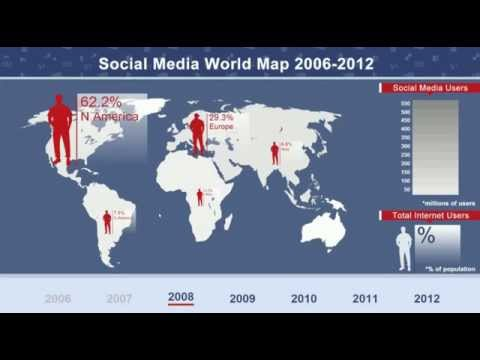 Infographic with live data feed -  Social Media World Map 2006-2012