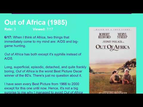 Movie Review: Out of Africa (1985) [HD]