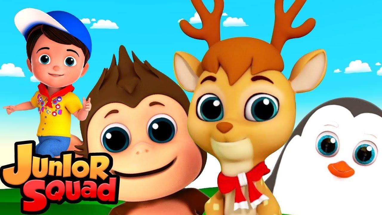 песня животных   стихи для малышей   потешки   Junior Squad Russia   мультфильмы