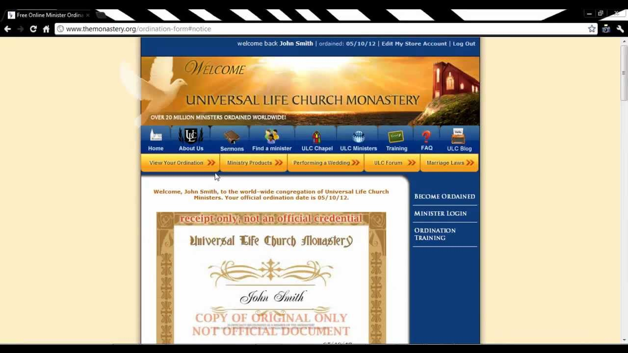 Free online ordained minister