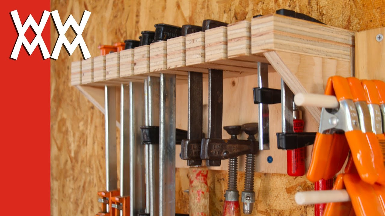 Woodworking clamp storage and organization - YouTube