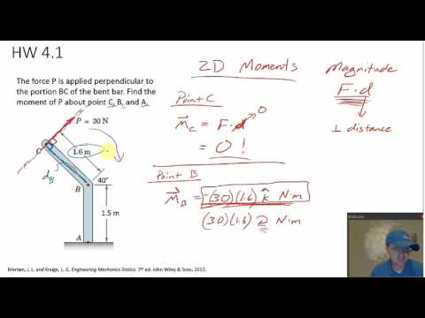 Statics - Moment in 2D example problem