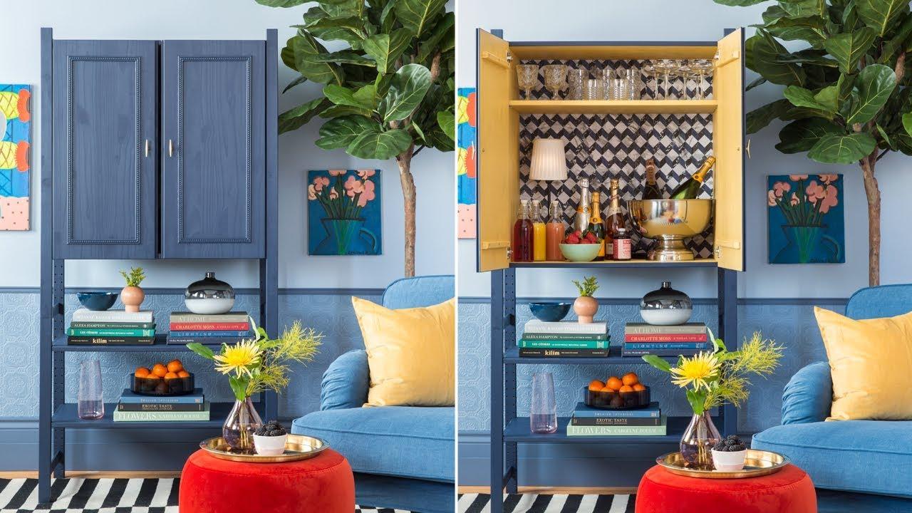 DIY: A Stylish Home Bar Made With An IKEA IVAR Cabinet - YouTube