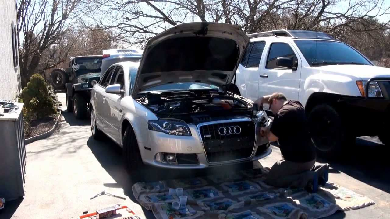 R8 Style Hid Projector Headlight Install On An Audi A4 B7