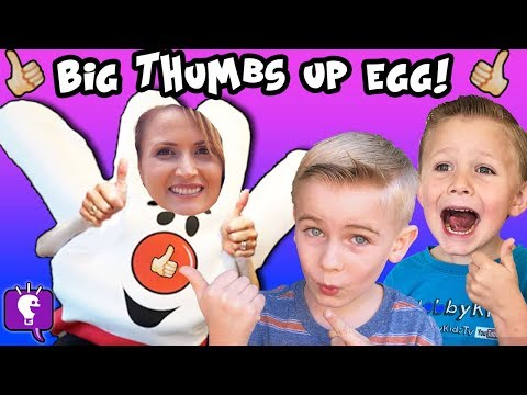 World's Biggest THUMBS UP Surprise Egg! Toys + SUMO Fight, HobbyMom Basketball HobbyKidsTV