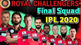 IPL 2020 Royal Challengers Bangalore Full Squad | RCB Final Squad 2020 | RCB Players list IPL 2020