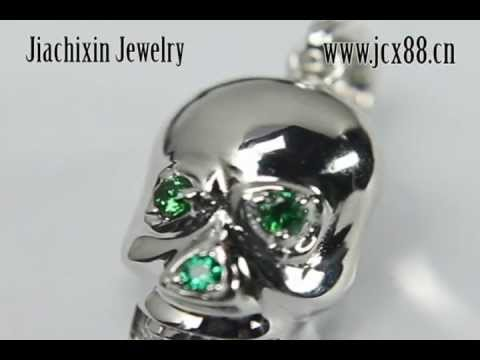 925 Sterling Silver Skull Head Pendants Color Crystal Design Charms Supplier