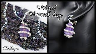 Twisted drop wirework pendant or earrings