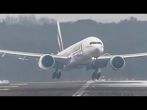 Crosswind Landings during a storm at Düsseldorf on an icy runway. Boeing 777, Airbus A340, A330