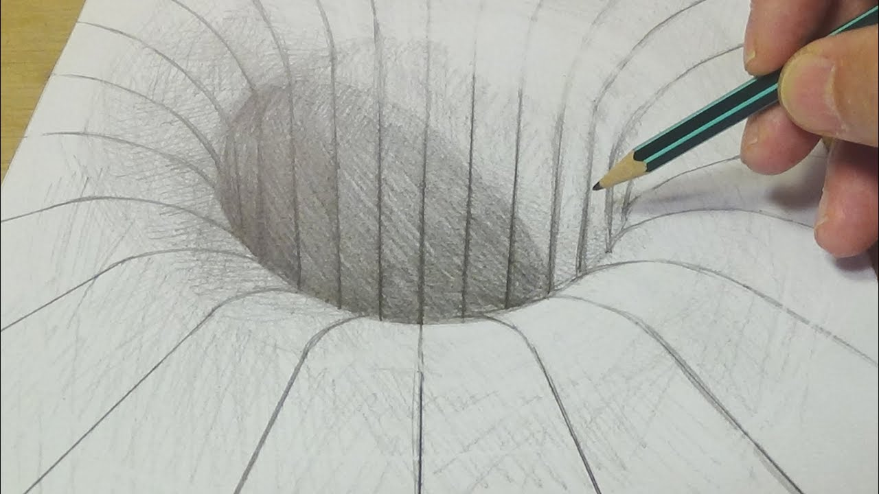 drawing with graphite pencil round hole illusion trick art on paper for kids adults