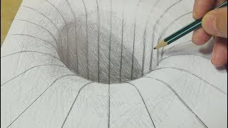 Drawing with Graphite Pencil - Round Hole Illusion - Trick Art on paper for Kids & Adults