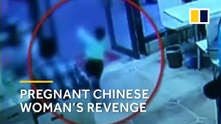 Pregnant Chinese woman deliberately trips boy, then continues eating