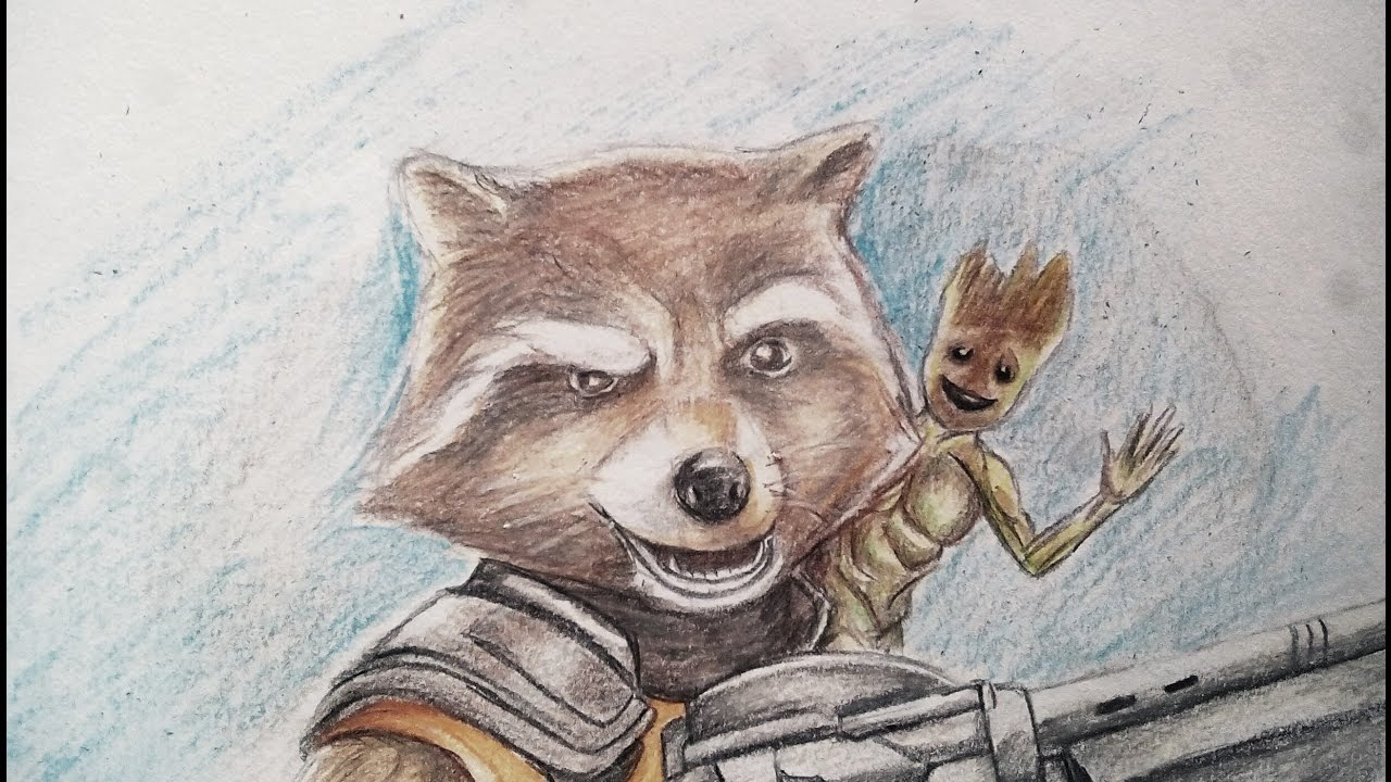 How To Draw Rocket Racoon Baby Groot From Gotg Vol 2 Drawing