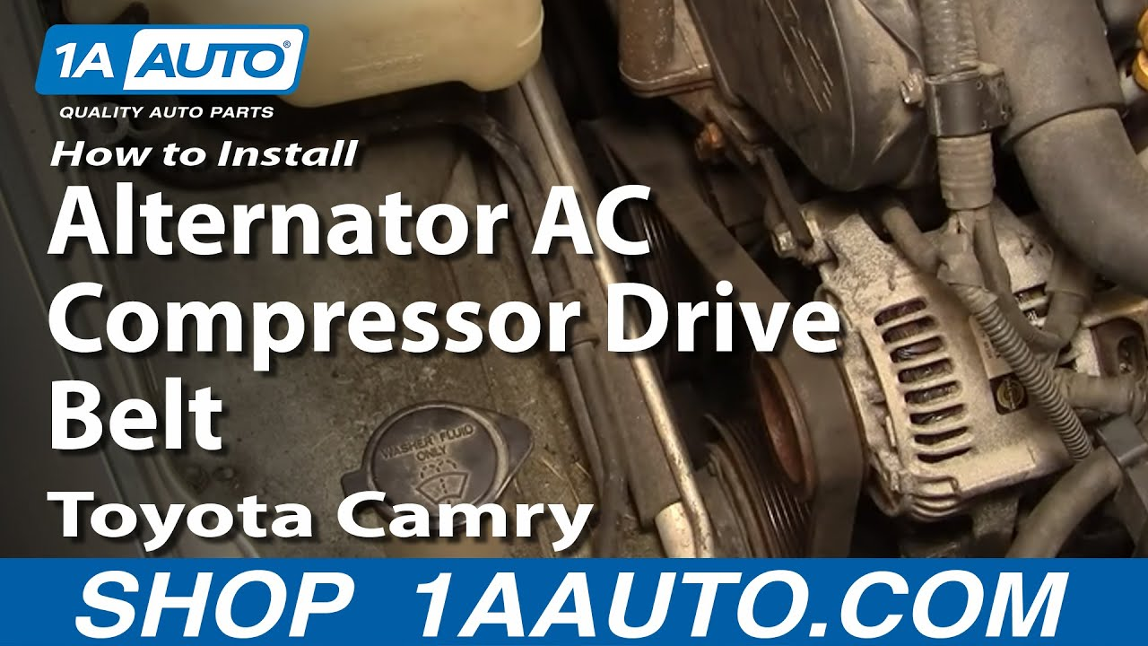 how to replace alternator ac compressor drive belt 92 96 toyota camry [ 1280 x 720 Pixel ]
