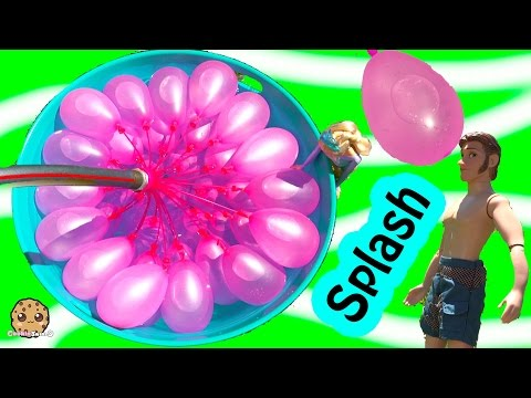 Disney Frozen Dolls Queen Elsa + Prince Hans Have Water Balloon Fight - Cookieswirlc Video