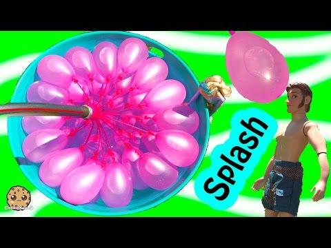 Disney Frozen Dolls Queen Elsa + Prince Hans Have Water Balloon Fight - Cookieswirlc Video