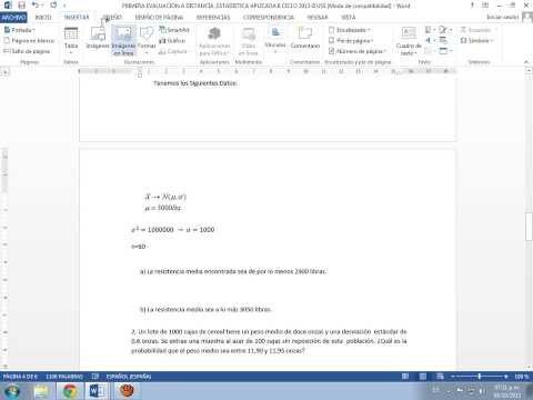 Insertar Símbolo del promedio muestral (Equis Raya) en Word