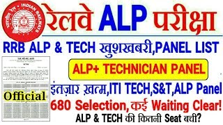 RRB ALP & TECH PANEL LIST जारी,S & T ,ALP मे 680 Selection ! कई Waiting Clear,बाकि Panel कब