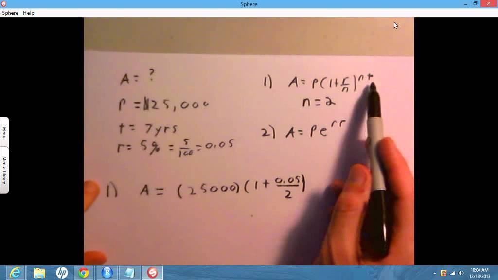 �^��r��'�n�_compoundingA=P(1+r/n)^(nt)A=Pe^(rt)-YouTube