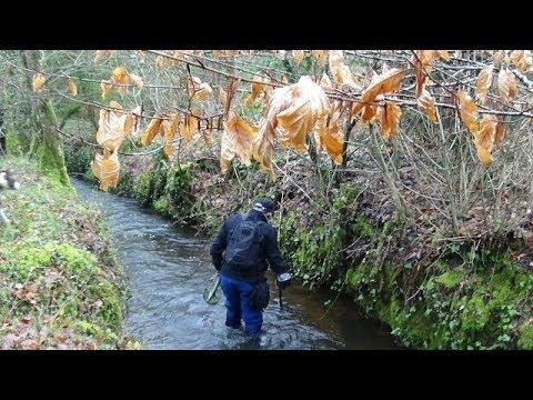 Recherches avec mon détecteur dans un ruisseau autour du château!!!