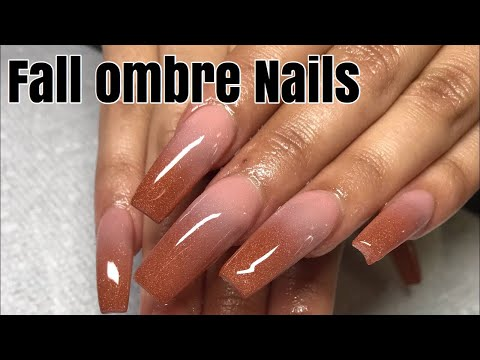 Fall ombre acrylic nail tutorial , YouTube