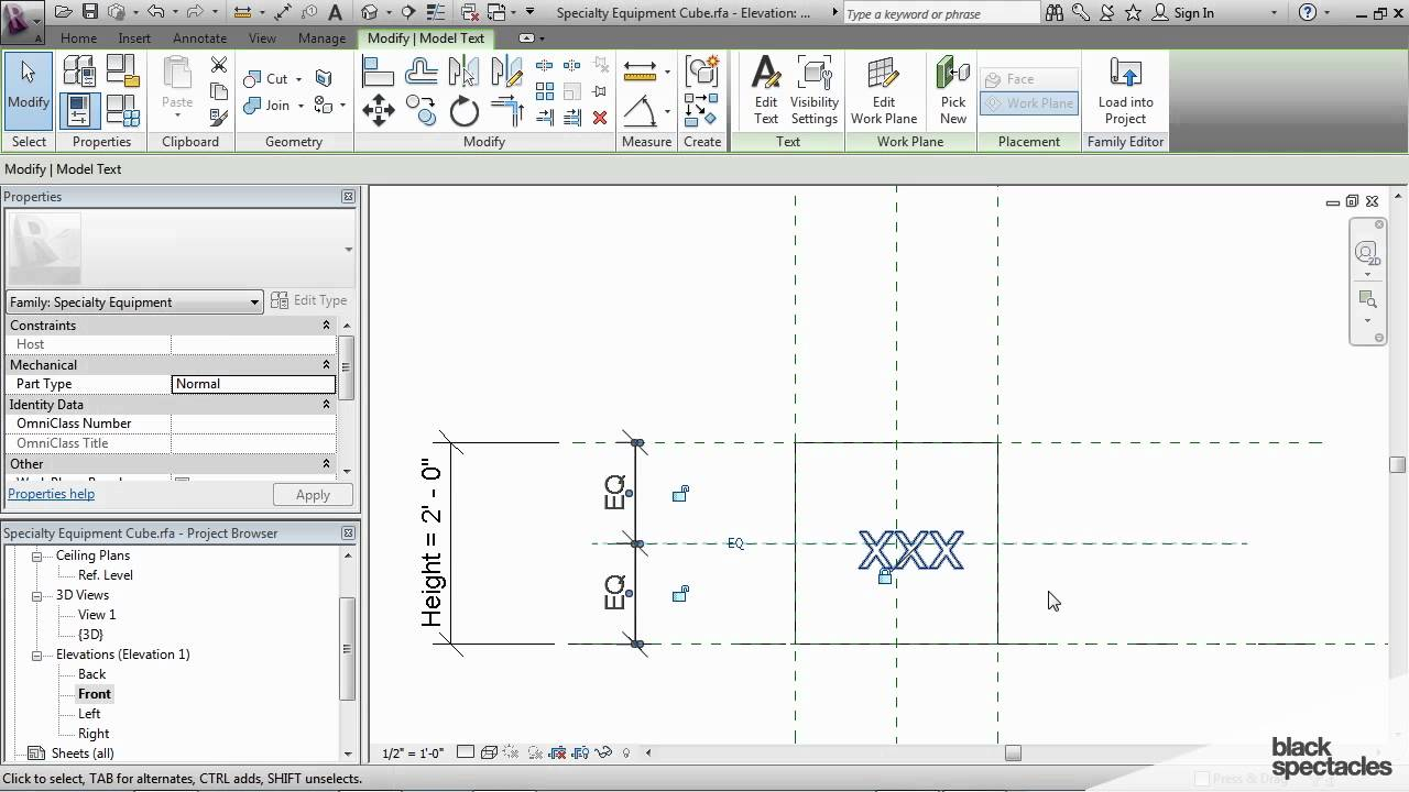 Revit Tutorial: Adding Model Text to a Family | Black Spectacles