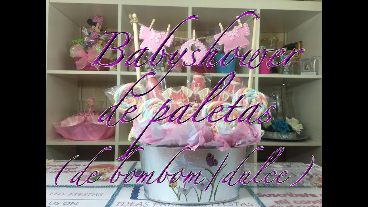 Decoracion para mesa dulces de babyshower paletas de for Decoracion para mesa dulce