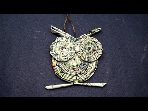 Paper Owl Craft-  Owl from Rolled Newspaper Craft
