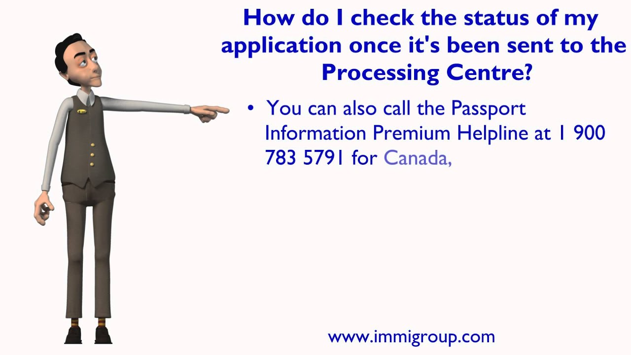 How do I check the status of my application once it's been sent to the  Processing Centre?