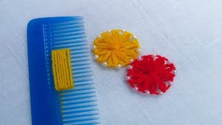 Hand Embroidery Amazing Trick, Woolen Flower Embroidery Trick with Hair Comb