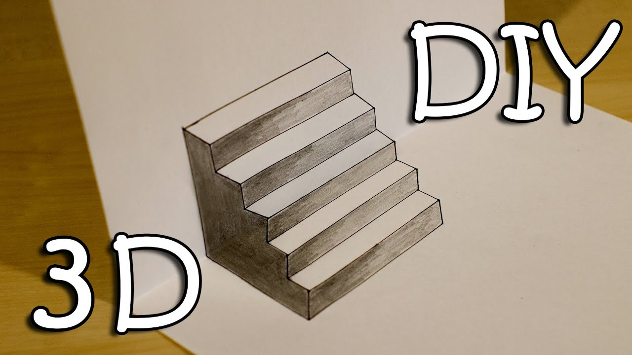 Diy 3d Stairs How To Draw Easy 3d Stairs Optical