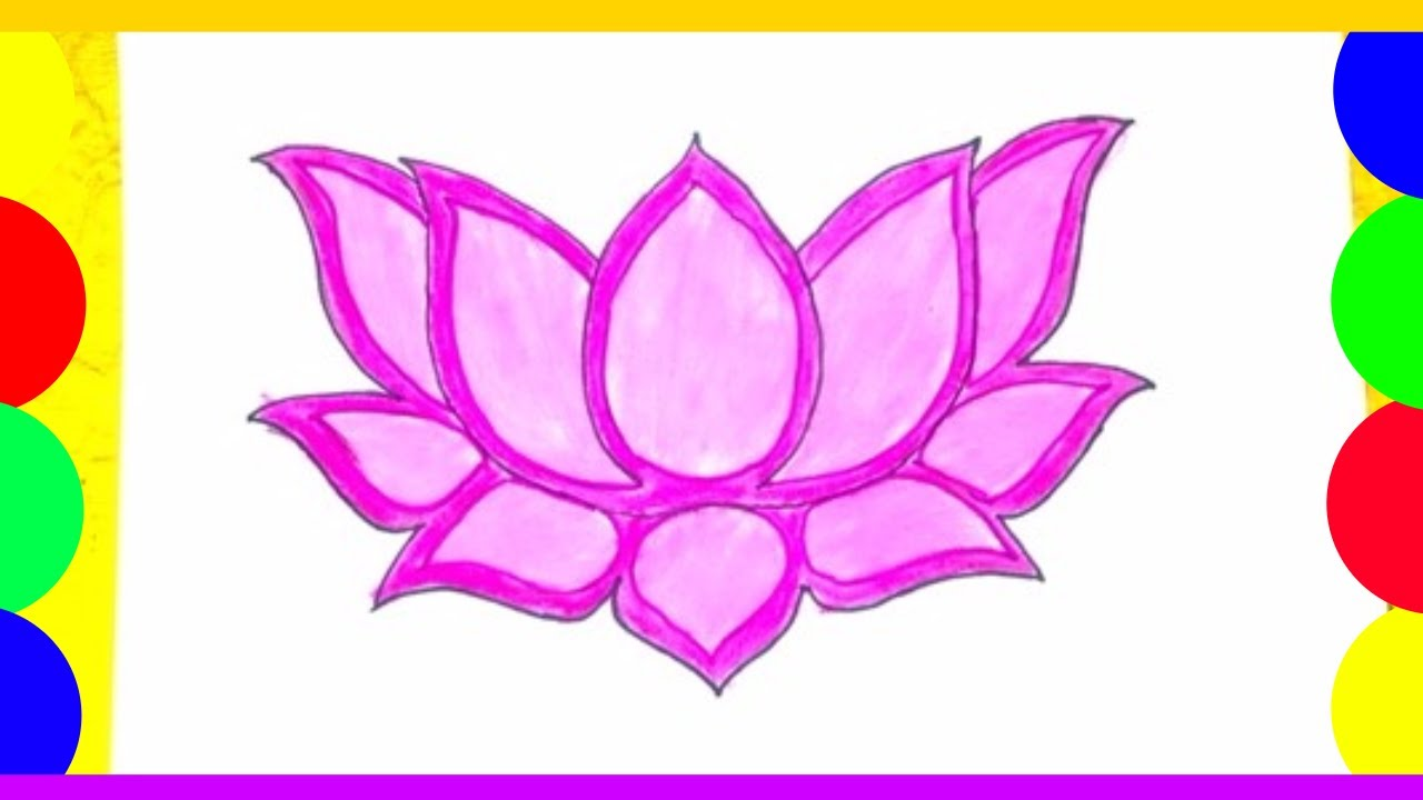Lotus Flower Drawing How To Draw A Lotus Flower Very Easy Method Youtube