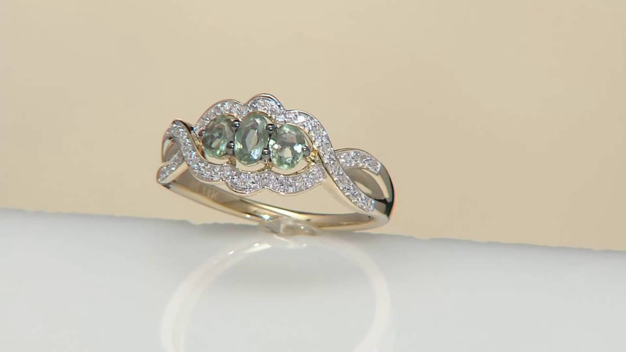 Alexandrite & Diamond 3stone Design Ring, 14k Gold 050 Cttw On Qvc