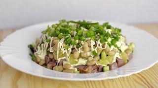 Быстрый салат с фасолью и ветчиной