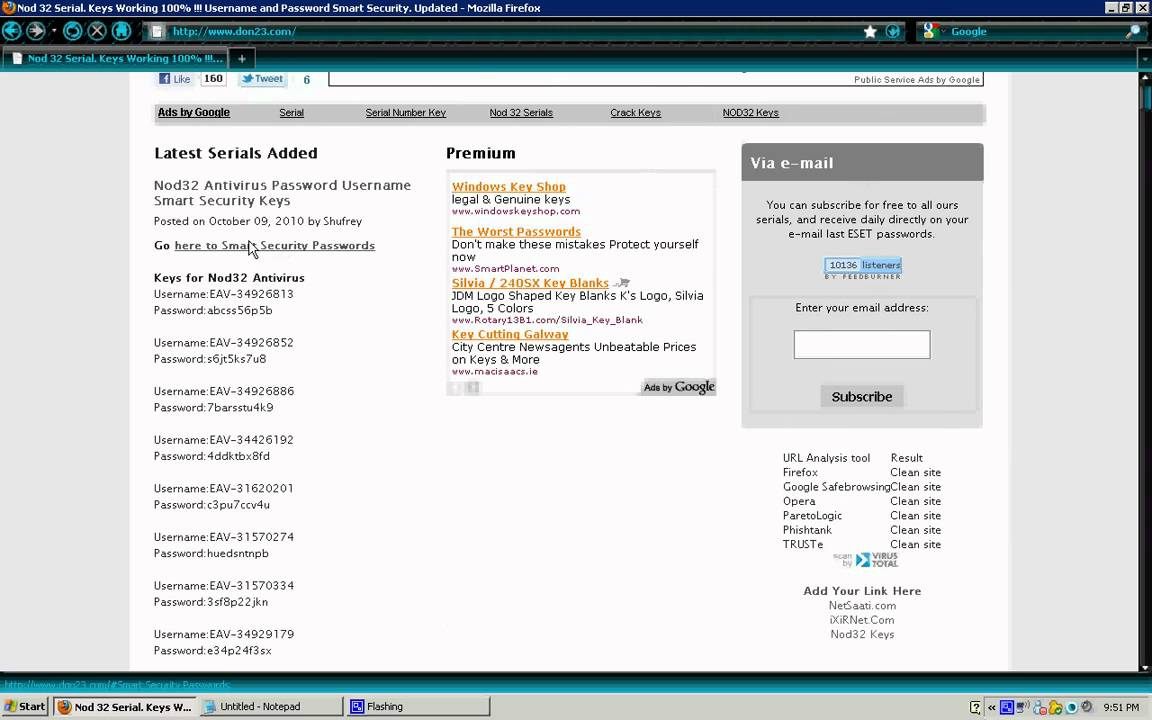 Nod 32 Antivirus & Eset Smart Security Free Serials 2010!