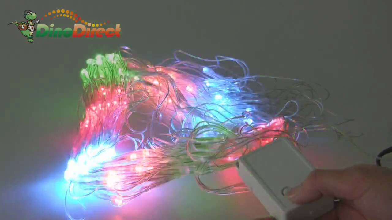 Half String Of Christmas Lights Blinking : Christmas Optical Fiber Multi-color LED String Flashing Lights (220V EU) - dinodirect - YouTube