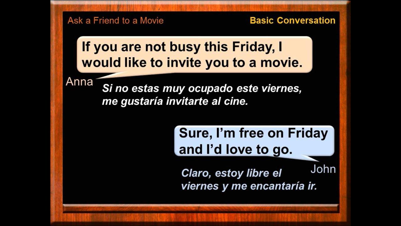Conversación Y Diálogos En Inglés Invitar Al Cine En Inglés Curso De Inglés Gratis English Youtube