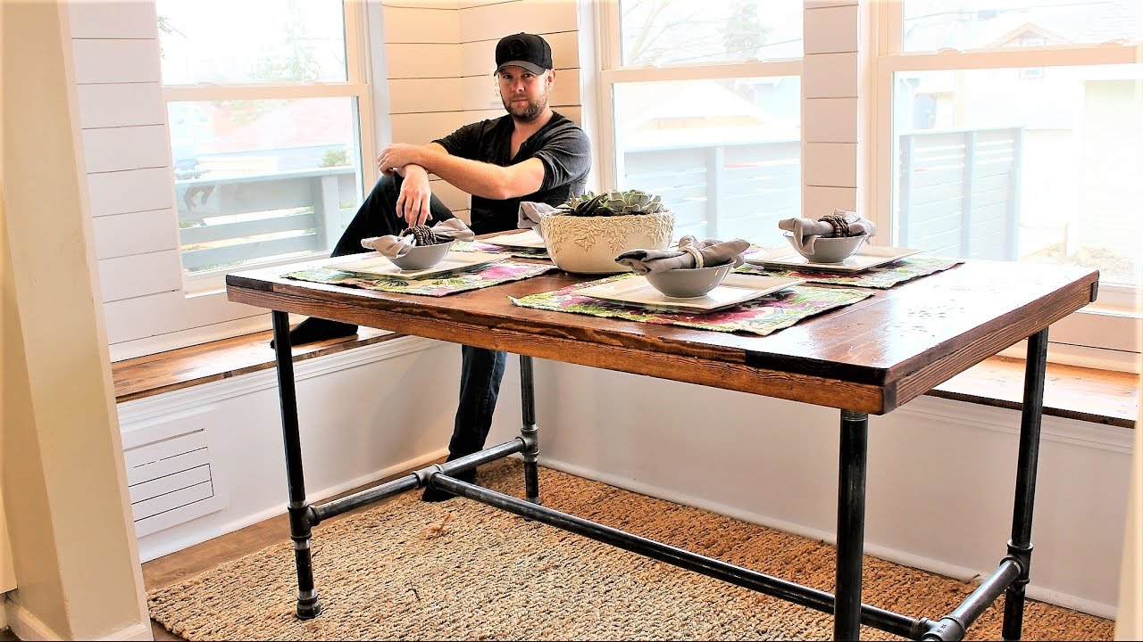 The Industrial Farm Table - Easy DIY Project - YouTube
