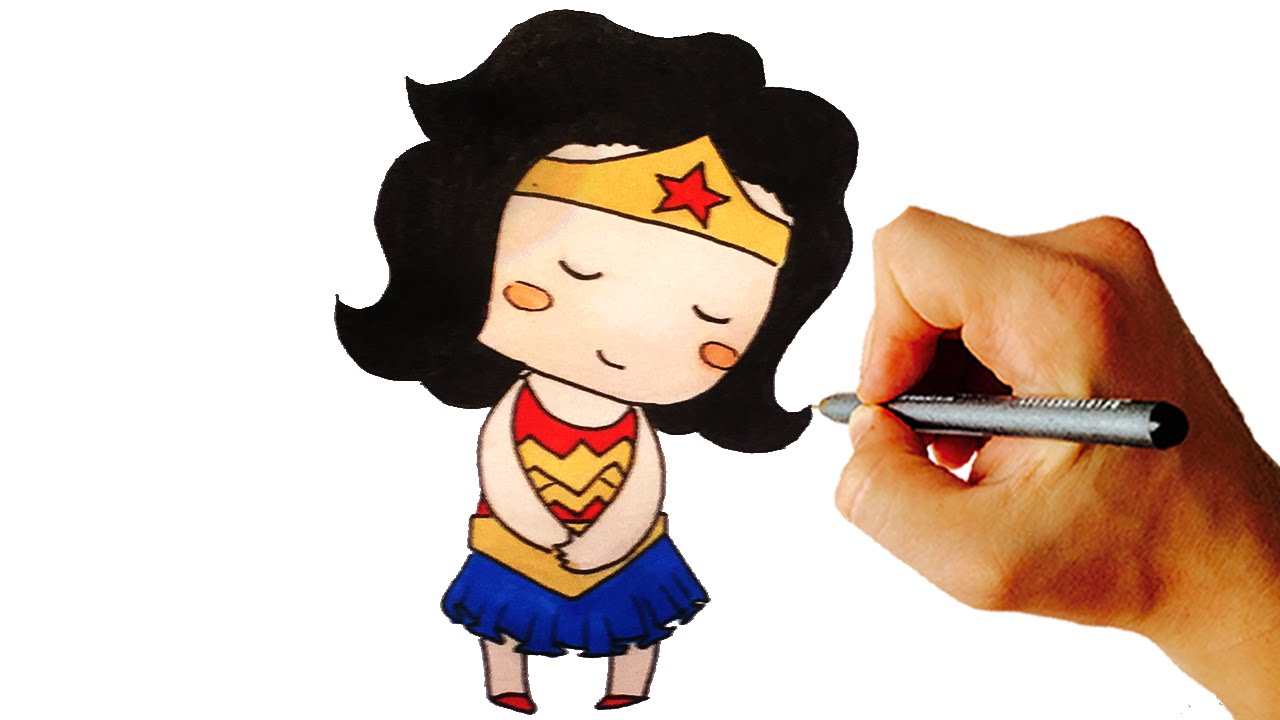 how to draw wonder woman chibi kids art lesson youtube