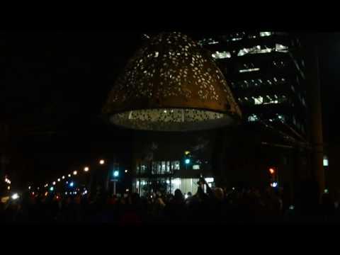 Artist Bill Plechet and Winnipeg Mayor light up Bill's Between Heaven art piece in Winnipeg, MB