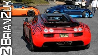 8 Bugatti Veyrons & Vitesses - Unloading, Starting, Driving