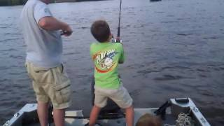 12 year old catches his biggest flathead on the Mississippi River